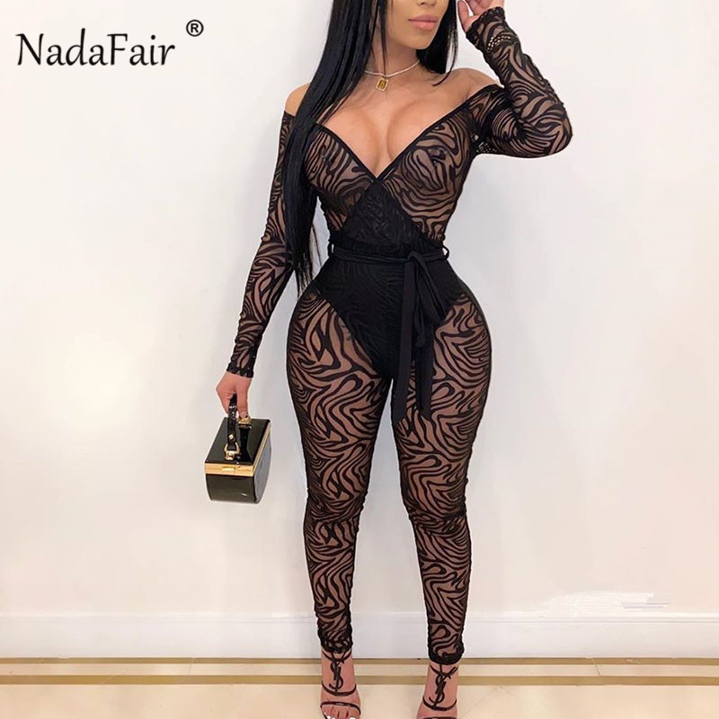 Nadafair See Through Animal Print Jumpsuit Women V  Mesh Sexy Jumpsuit Skinny Overall Long Off Shoulder Romper Clubwear