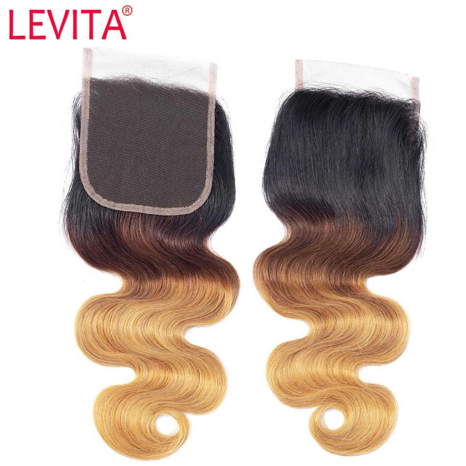 1b/4/27 mel loira pacotes com fechamento ombre pacotes com fechamento onda do corpo brasileiro tecer cabelo humano pacotes com fechamento