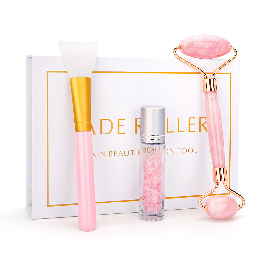 Natural Pink Crystal Jade Roller Double Head Rose Quartz Massage Roller Real Stone Facial Massager Skincare Tools Set With Box