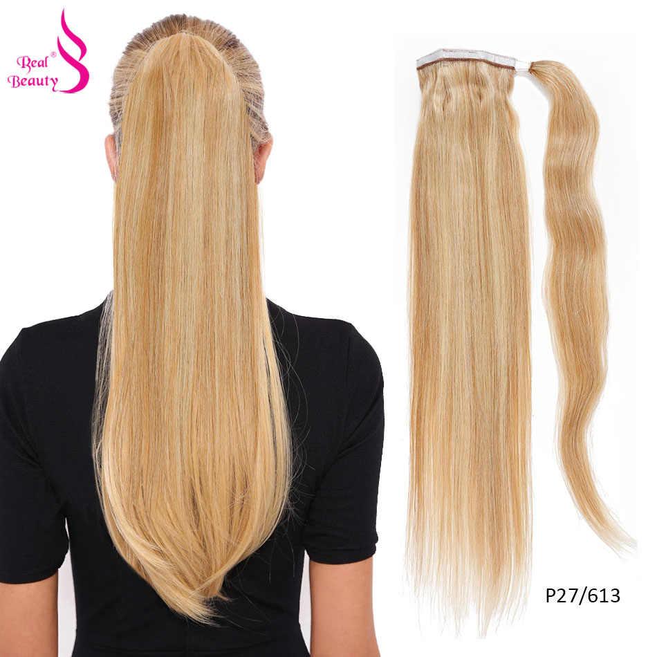 Real beauty brazylijski Remy włosy kucyk owinąć wokół skrzyp 100% proste włosy ludzkie kucyk 60/100/120g treski