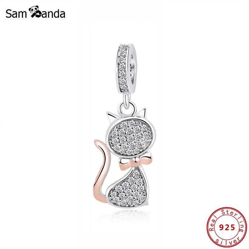 Authentic 100% 925 Sterling Silver Bead Lovely Cat Pendant Charms Pet Rose Gold Fit Pandora Original Bracelet Diy Women Jewelry