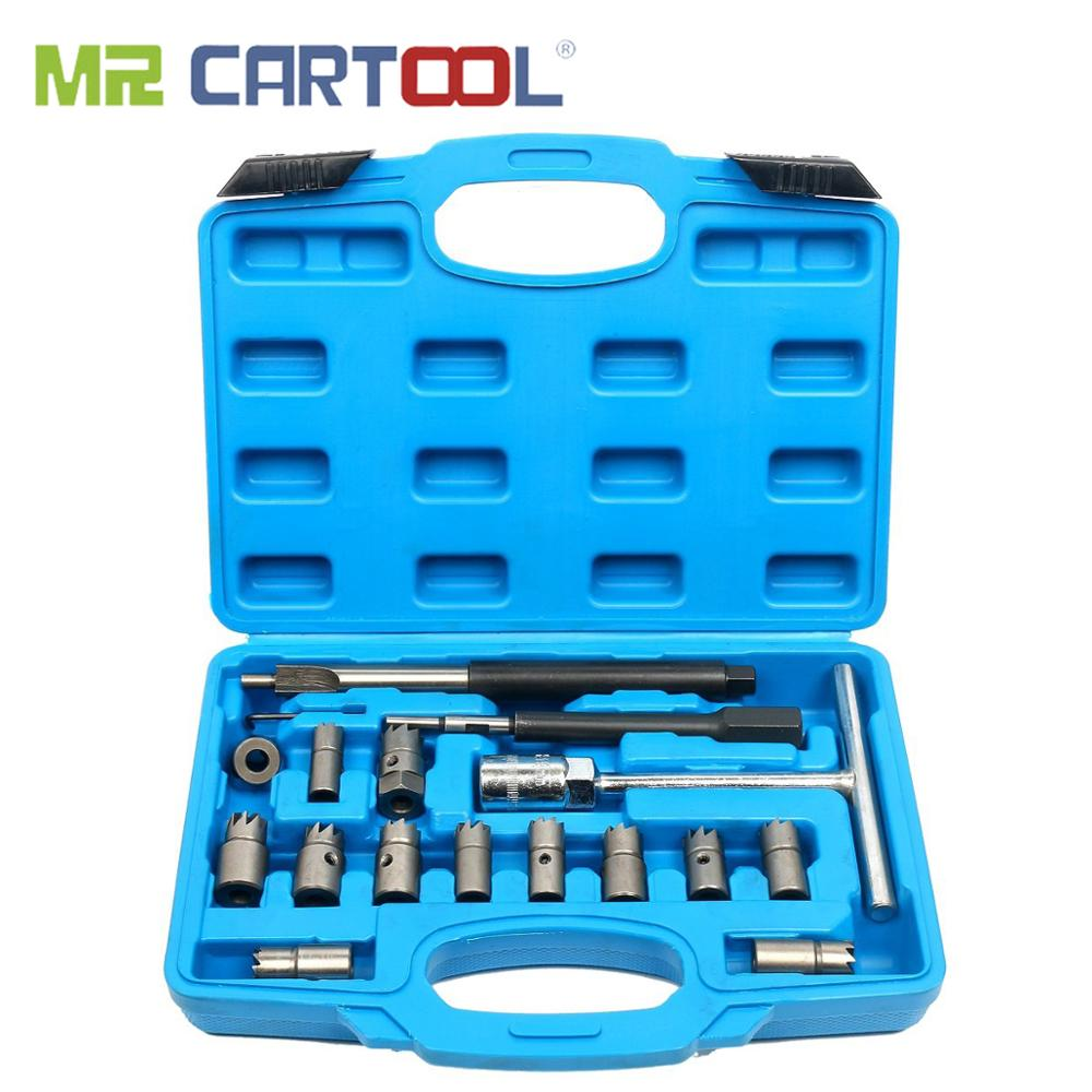 MR CARTOOL 17Pcs Diesel Injector Seat Cutter CDI Special Tools Carbon Remover Cleaner Universal Injector Re-Face Reamer Tool Set