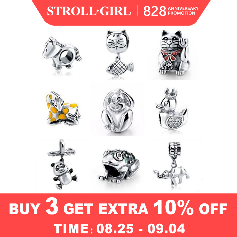 Strollgirl Charm Beads Fit Pandora Cat-Horse Original Jewelry Bracelet Diy 925-Sterling-Silver