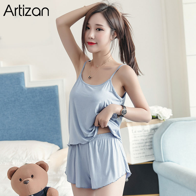 Sexy Summer Pajamas Sleepwear for Women Sleeveless Spaghetti Strap Summer Pyjamas Cami Top + Shorts Pajamas Sets Nightwear(China)