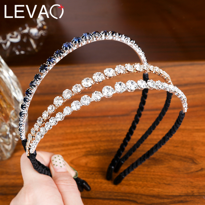Levao Chic Women Rhinestone Hairband Elegant Black Hair Hoop Headband Hair Bands For Girls Party Hair Accessories