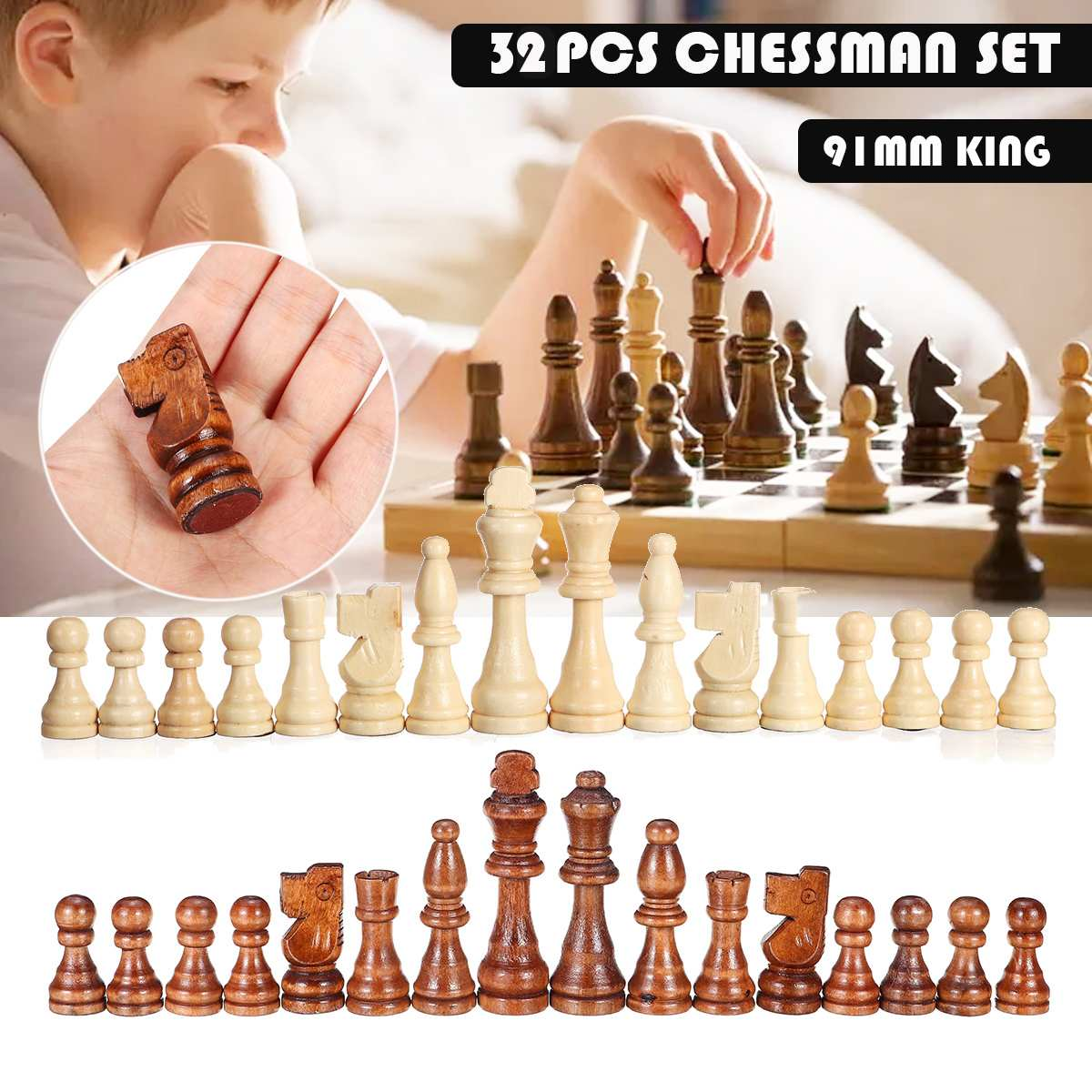 32 Pieces Wooden Chess Pieces King Height 91mm Set Chess Gam…