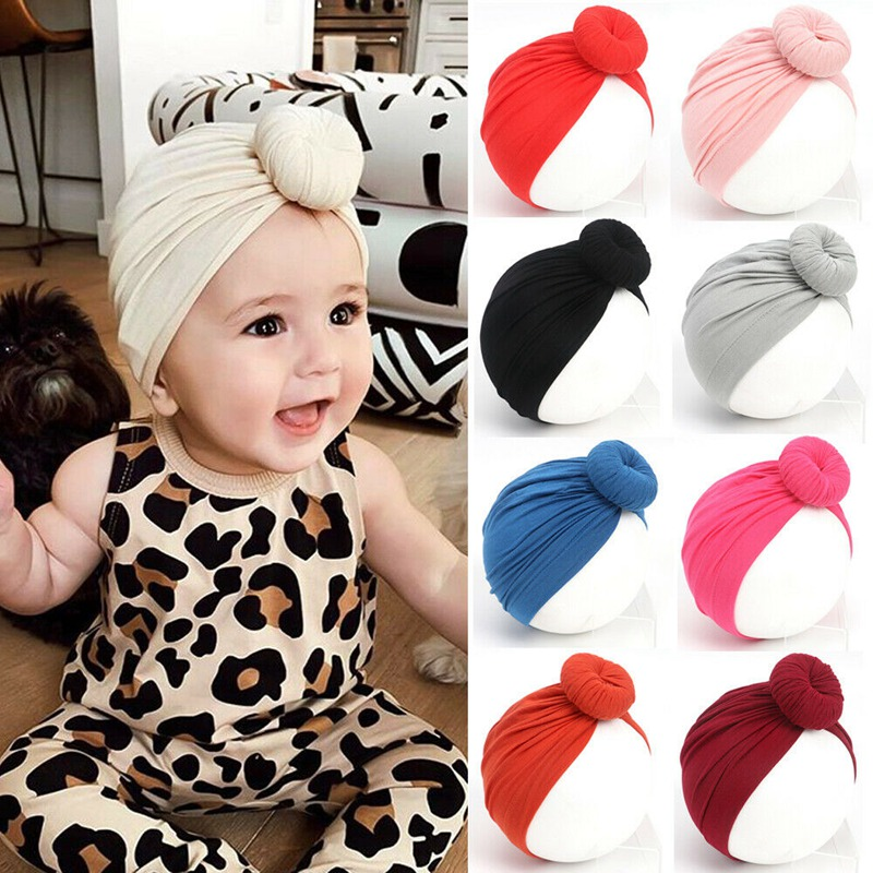 Baby Boy Girl Toddler Headband Turban Knot Hat Beanie Cap Warm Headwear Cotton Beanie Hat Winter Warm Cap