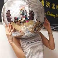 Spiegel Kopfbedeckungen Runde Disco Ball Mysterious Mask GoGo Tänzer Tragen Party Rennen Kleidung Ornamente Bar Darstellende Requisiten Zubehör