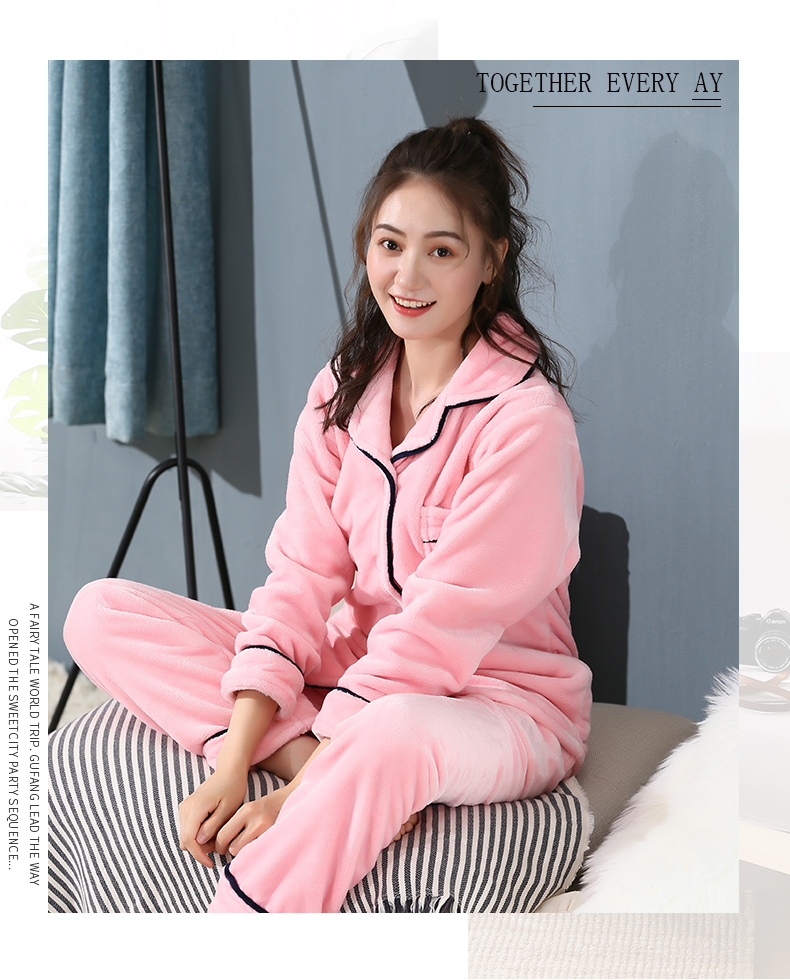Plus Size 3XL 4XL 5XL Pyjamas women winter new Korean kawaii pink coral fleece warm pajama set thick flannel pijama home service 187