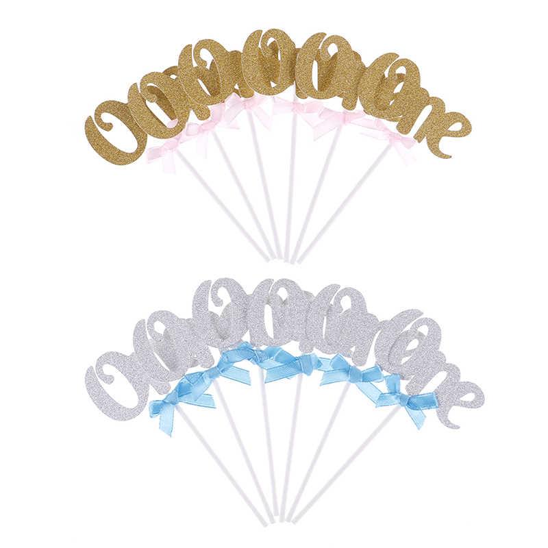 6 pièces premier anniversaire Cupcake Toppers or argent garçon fille Happy 1st décoration de fête d'anniversaire je suis une fête faveurs