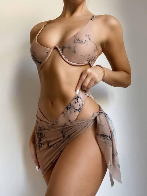 Sexy Marble Print Bikini Women Push Up Bra Underwire 3 Piece Swimsuit Brazilian Beach Bathing Suit Swimwear Swimming Suits