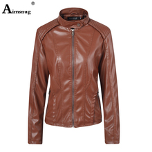 Aimsnug Faux Pu Leather Jacket Women Pink Brown Washed Tunic Outerwear Pockets Zipper Motorcycle Coat Slim Ladies Biker Jackets