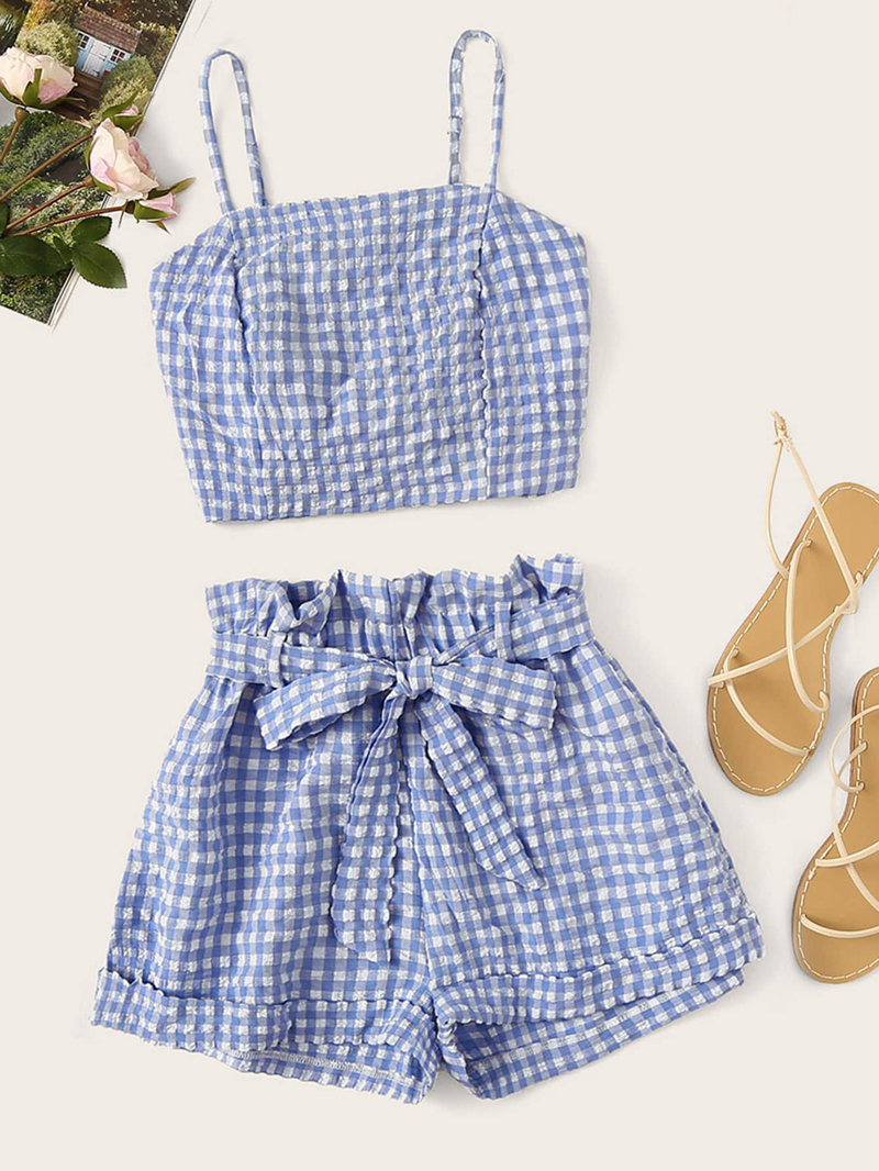 Woman Two Piece Set Gingham Bubble Lattice Sling Crop Top Shorts Pullover Above Knee, Mini Elastic Waist Casual