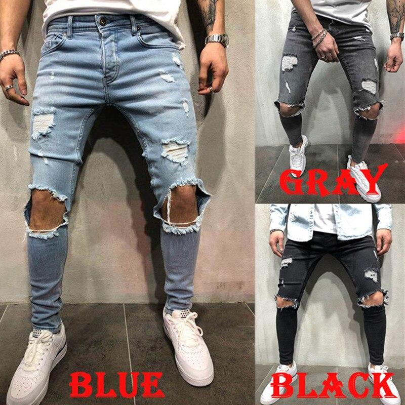 2020 Men's Jeans New Hole Slim Trousers Denim elastic skinny cotton male streetwear hiphop personality Male Pencil pants