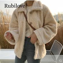 Rubilove Faux Fur Thick Coat For Women 2019 Autumn Warm Soft Loose Fur Jacket Female Outerwear Button Plush Ladies Casual Winter недорого