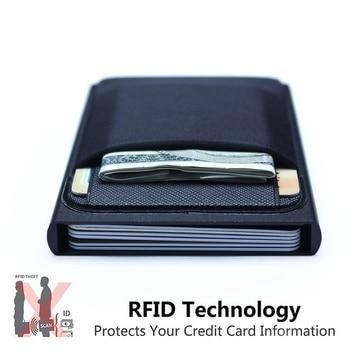 Мужской деловой алюминиевый кошелек с идентификацией по внутренней идентификации, блокирующий RFID, тонкий металлический кошелек, кошелек для монет, чехол для карт, кошелек для кредитных карт, rfid кошелек