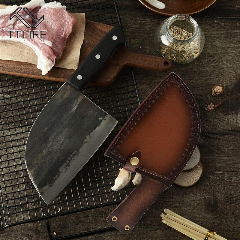 TTLIFE ручной работы высокого класса ножи для кожи шеф-повара Ножи кобура мясник ножи кухонные ножи для хранения Кливер