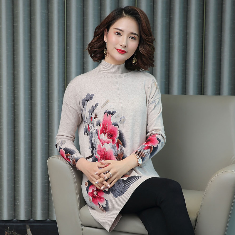 Women Autumn Cashmere Vintage Floral Sweater Elegant Middle Aged Mother Wool Sweater Pullover