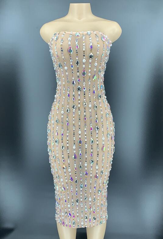 AB Stones Pearls Transparent Dress Evening Celebrate Long Dress See Through Mesh Stretch Outfit Singer Party Performance YOUDU