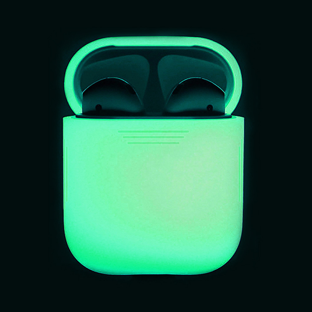 Besegad Silicone Protector Carrying Case Cover Skin Sleeve Pouch Box Glow in the Dark for Apple Airpods 1 2 Wireless Accessories