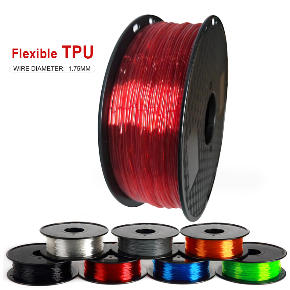 Elastic Flexible TPU 3D Printer Filament 1.75mm 95A Rubber Material Roll Flex 500g 250g Red Black Blue Filament for 3D Printing
