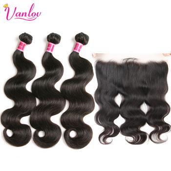 Vanlov brazylijski włosy wyplata wiązki z czołowa ludzki włos doczepy typu body wave z zamknięciem 13X4 koronki przodu zamknięcie i wiązki tanie i dobre opinie Ciało fala Remy włosy = 10 Przestawianie NONE 3 sztuk wątek i 1 pc zamknięcia Natural Color can be dyed #27 100 Human Hair Bundles With Closure