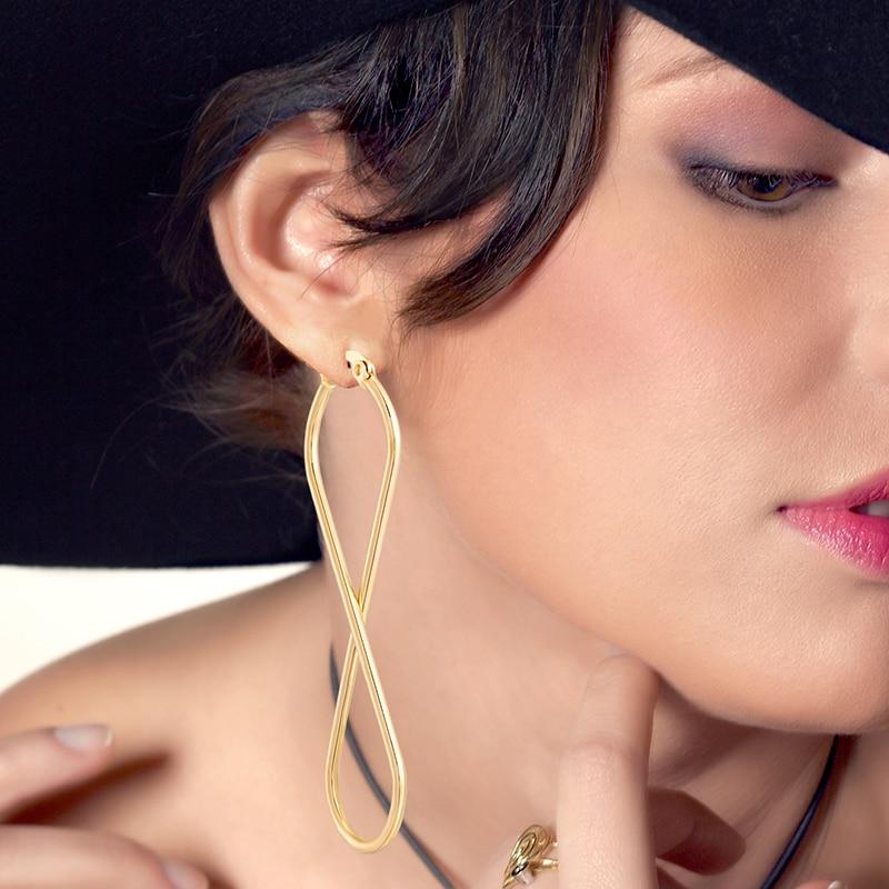 European and American fashion Drop Earrings unlimited geometric number 8 hoop Ear rings golden woman's retro earrings Party Gift