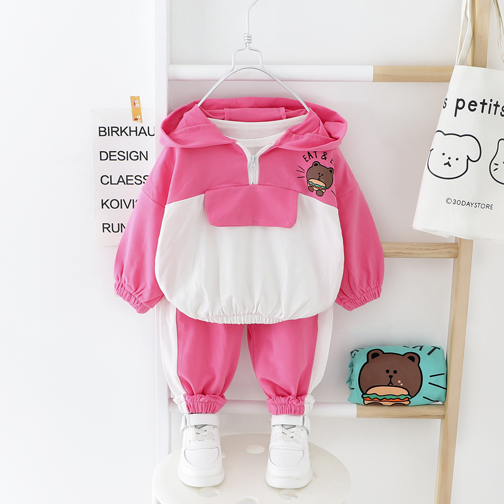 Cartoon Baby Clothes For Girls Boys Hooded Long-sleeves Spring Suits Bear Printed 2 PCS Kids Children Clothes Suit Pink