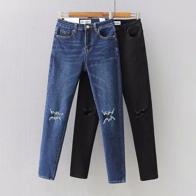 ZA Women Jeans 2019 New Fashion High Waist Hollow Out Blue Denim Pencil Jeans Femme Autumn Slim Casual Long Pants