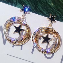 Zircon Brincos Oorbellen Bijoux Crystal Rhinestone Hollow Round Star Hanging Earrings For Women Fashion Jewelry(China)