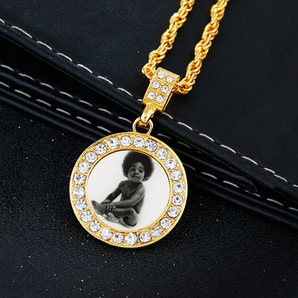 Custom Made Photo Medallions Necklace&Roundness Solid Back Pendant With Rope Chain CZ Gold Silver Men's Hip Hop Memorial Jewelry