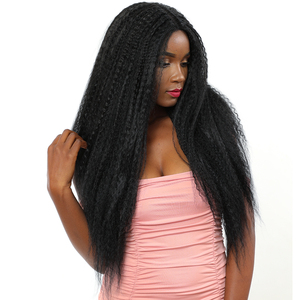 Image 2 - Natural Black Color Synthetic Hair Lace Front Wigs African American Hairstyle X TRESS Long Kinky Straight Lace Wig Middle Part
