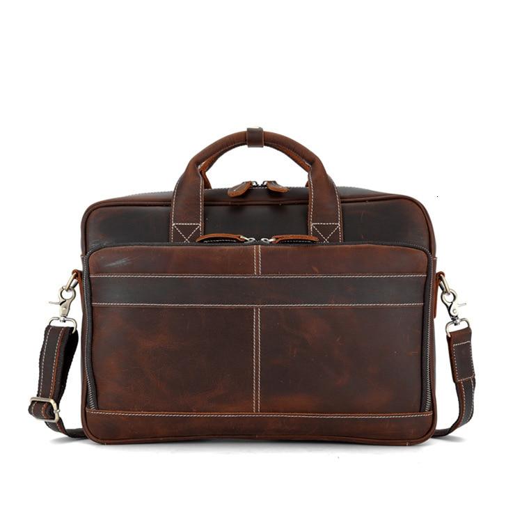 Men Business Briefcase Crazy Horse Genuine Leather Shoulder Portfolio Laptop Bag Fashion Document Bag Cow Leather Office Handbag
