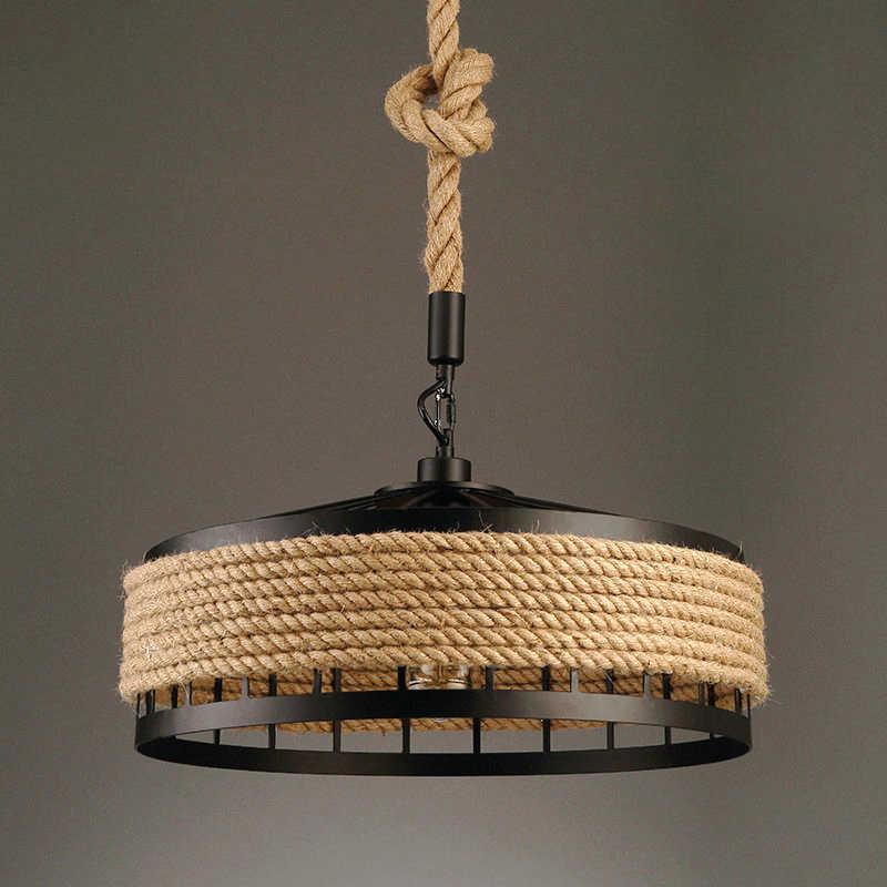Luzes pingente sala de jantar cozinha corda de metal Industrial do vintage e27 restaurante cafe retro loft lustre lâmpada do teto pendurado