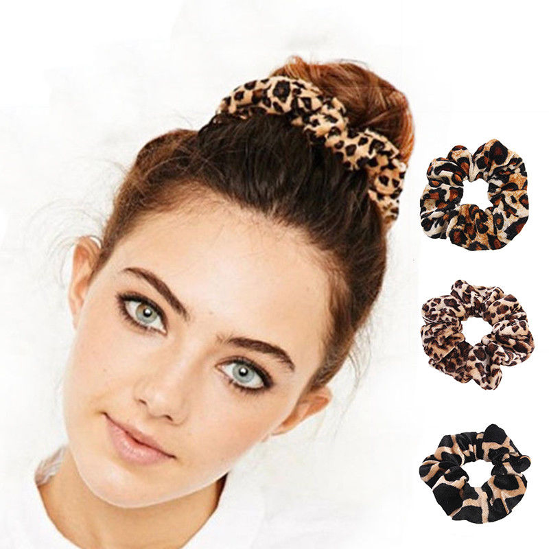Good Quality Leopard Scrunchies Girls Elastic Hair Rope Band Women Scrunchies Velvet Ponytail Holder Hair Accessories