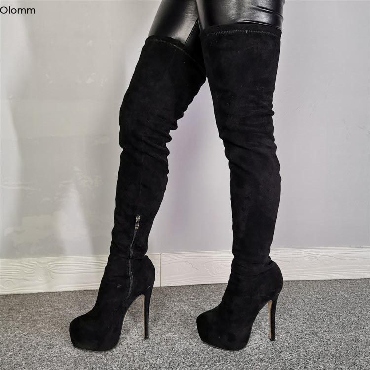 Olomm 2020 Women Platform Boots Thigh High Boots Stiletto High Heel Boots Round Toe Elegant Black Dress Shoes Women US Size 5-15