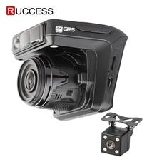 Ruccess 대시 카메라 dvr 3 러시아에 대 한 gps와 1 레이더 탐지기 자동차에 대 한 전체 hd 1080 p 1296 p dashcam 2 카메라 비디오 레코더