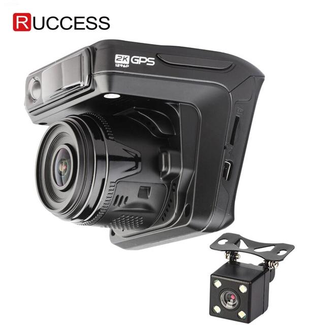 Ruccess kamera samochodowa DVR 3 w 1 wykrywacz radarów z GPS dla rosji Full HD 1080P 1296P Dashcam 2 kamera wideorejestrator dla samochodu