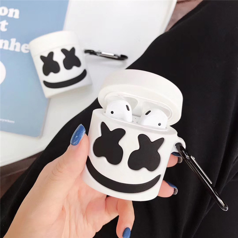 Fashionable Halloween Airpods 1 2 Silicone Case Latex White DJ Marshmallow Mask Apple Airpods Wireless Earphone Cover