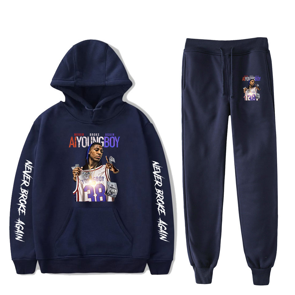 NBA Youngboy Never Broke Again Hoodies Suit Sweatshirts Trousers 2PCS Sets Men Women Fashion Hoodie Tracksuit New Hip Hop Sets
