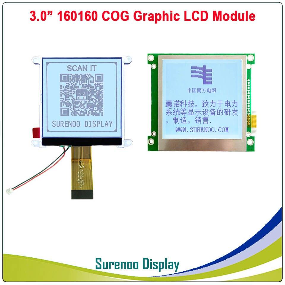 160*160 160160 Graphic Matrix COG LCD Module Display Screen FSTN Positive In White Backlight, Build-in UC1698U Controller