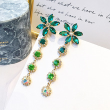 Summer Seaside Resort Green Crystal Flower Earrings Female Long Temperament Personality Exaggerated