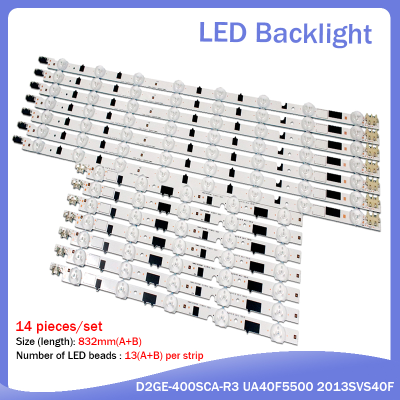 New 14 Pieces(7R+7L) UA40F5000ARXXR UA40F6300AJXXR LED Strip For SAMSUNG 2013SVS40F L8 R5 D2GE-400SCA-R3 D2GE-400SCB-R3
