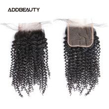 Кудрявые 4x4 HD кружевные застежки бразильский один донор натуральные человеческие волосы 13x4 кружевная фронтальная предварительно выщипанн...