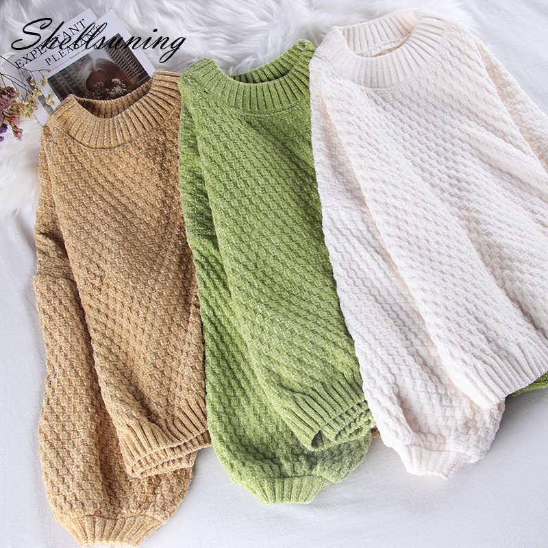 Shellsuning Chenille suéter sólido mujer Navidad tejido cuello redondo cálido puente 2019 nuevo suave manga linterna básica jerseys