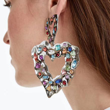 New Alloy Colorful Crystal Big Love Heart Earrings Women Exaggerated Pendant Stud Fashion Jewelry