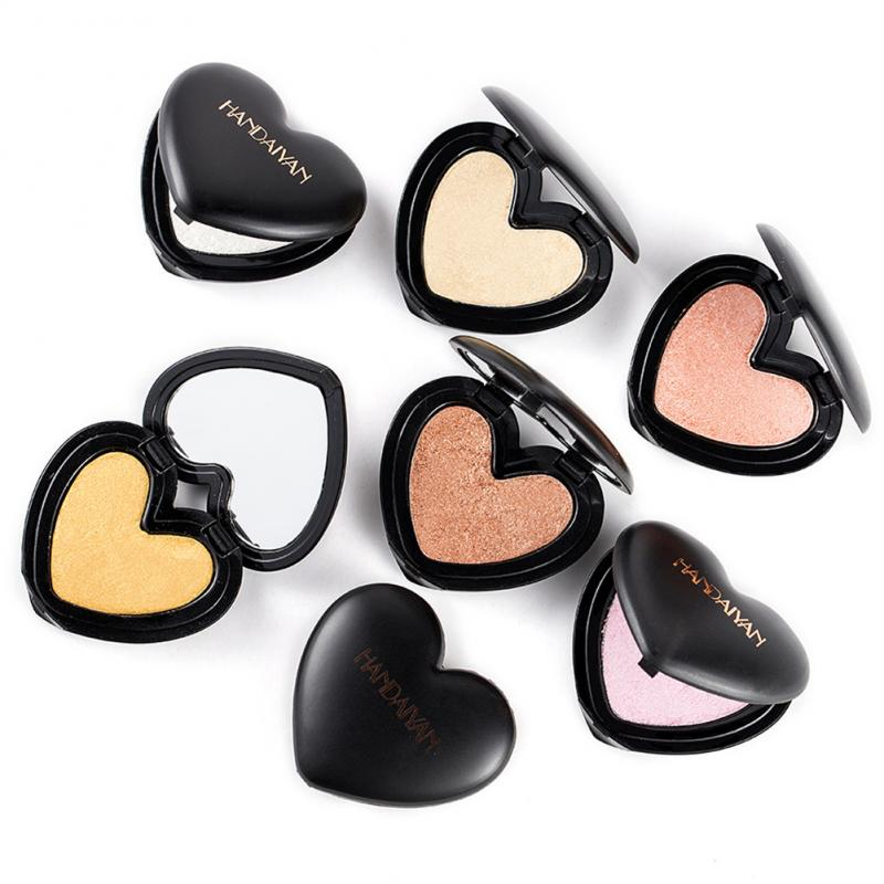 6 Colours Fashionable Highlighter Powder Face Brighten Eye Shadow Heart Shape Hand Baking Powder Long Lasting Makeup TSLM1