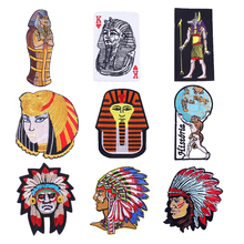 Iron Patch Egyptian Pharaoh Stickers On Fabric DIY Sew On Decal Backpack Badge On The Back Indian Stripes On Clothes Embroidered on