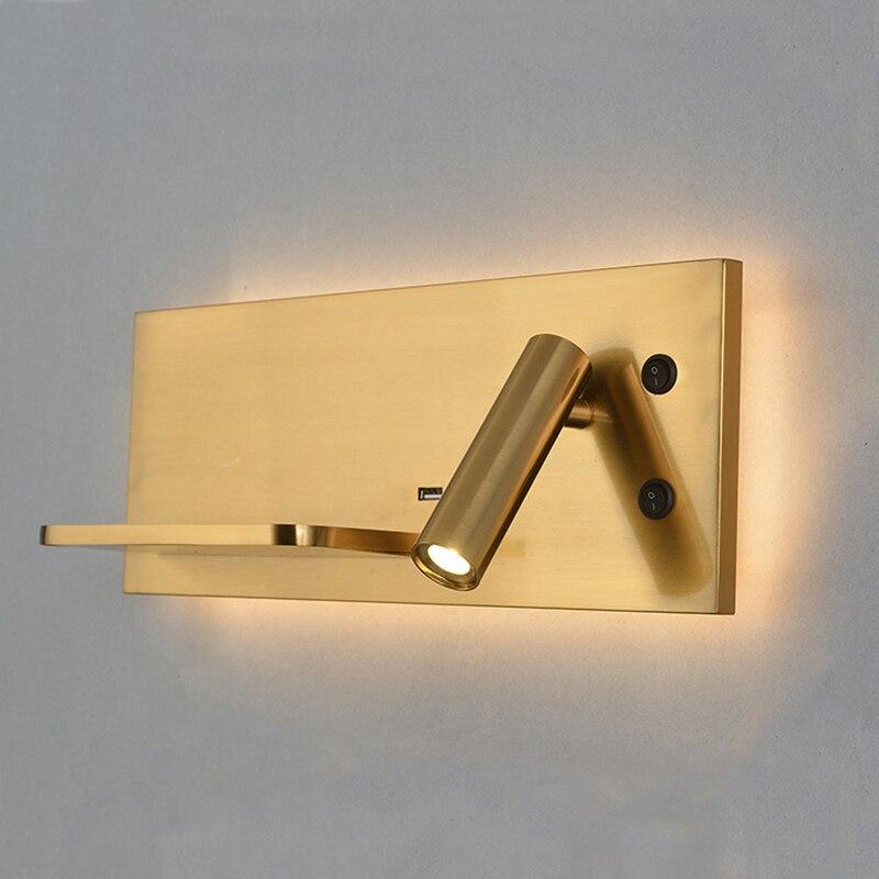 Золотой настенный светильник, современный Лофт, для ежедневного использования, светодиодный светильник, лампа через 5 В, USB порт, 9 В, 1A, беспр...