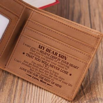 VE2026 MOM TO SON Men's Boy's Wallet Genuine Engraving Laser Leather Purse Card Holder Bifold Wallets Purses Retro From MOM Gift